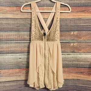 BKE Boutique embellished lace zip up tank top